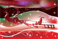 Sleigh with deers winer red illustration Stock Image