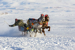 Sleigh on frozen Cildir lake in Ardahan city of Turkey. Ardahan, Turkey - January 14, 2017: Sleigh on frozen Cildir lake in Ardahan city of Turkey onJanuary 14 Stock Photography