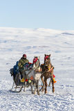 Sleigh on frozen Cildir lake in Ardahan city of Turkey. Ardahan, Turkey - January 14, 2017: Sleigh on frozen Cildir lake in Ardahan city of Turkey onJanuary 14 Stock Images