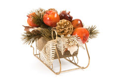 Sleigh With Fruit Ornaments Stock Photos