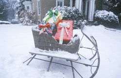 Sleigh with Gifts on Lawn, St. Louis, Missouri Royalty Free Stock Image