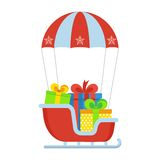 Sleigh with gifts on parachute. Christmas gifts in sleigh down from sky on parachute. Concept of New Year gifts. Template for greeting cards, advertising. Flat Royalty Free Stock Image