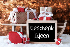 Sleigh With Gifts, Snow, Bokeh, Geschenk Ideen Means Gift Ideas Stock Photography