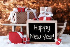 Sleigh With Gifts, Snow, Bokeh, Text Happy New Year Royalty Free Stock Image