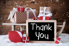 Sleigh With Gifts, Snow, Snowflakes, Text Thank You Stock Image