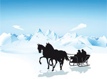 Sleigh in the mountains Royalty Free Stock Photography
