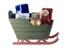 Sleigh with presents and bauble Stock Photo