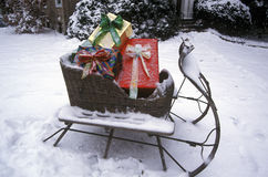 Sleigh With Presents on Lawn, St. Louis, Missouri Royalty Free Stock Photography