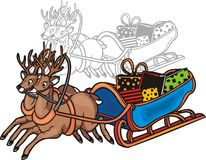 Sleigh and reindeer - vector illustration. Stock Image