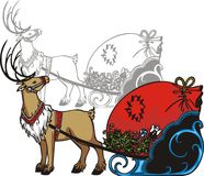 Sleigh and reindeer - vector illustration. Royalty Free Stock Photography