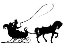 Sleigh Ride. Silhouette of a couple taking a ride in a winter sleigh, pulled by a horse Royalty Free Stock Photography
