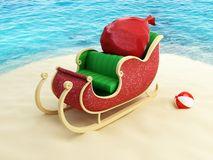 Sleigh Santa on the beach Royalty Free Stock Photography
