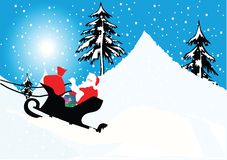 Sleigh with santa claus Royalty Free Stock Images