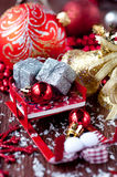 Sleigh Santa Claus with gifts and decorations Stock Photography