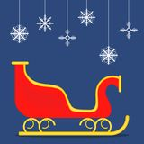 Sleigh of Santa Claus, red sleigh on a blue background. Royalty Free Stock Photos