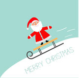 Sleigh with Santa Claus  rolling downhill Motion line Blue background. Merry Christmas Greeting card Flat design Stock Photos