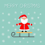 Sleigh with Santa Claus and snowflake Blue background. Merry Christmas Greeting card Flat design Stock Images