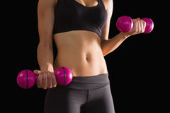 Slender active woman lifting pink dumbbells Royalty Free Stock Image
