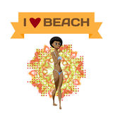 Slender afro black woman dressed in yellow swimsuit is standing. Royalty Free Stock Images