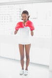 Slender athletic woman wearing boxing gloves Stock Photos