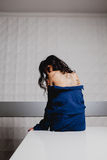 Slender brunette with henna ornaments drawn on her back Royalty Free Stock Images