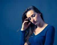Slender Caucasian Female Somber Expression Stock Photos