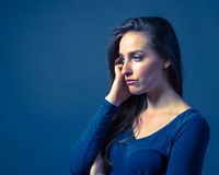 Slender Caucasian Female Somber Expression Royalty Free Stock Images