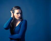 Slender Caucasian Female Somber Expression Royalty Free Stock Photo