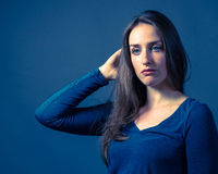 Slender Caucasian Female Somber Expression Royalty Free Stock Photos