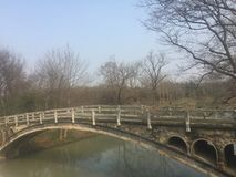 Slender East lake in. Old stone bridge in Yangzhou Royalty Free Stock Photography