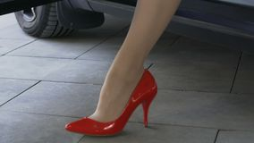 Slender female legs in expensive leather shoes appearing from open car door. Stock footage stock video