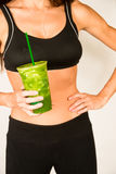 Slender Female Torso Tanned Toned Body Blended Fruit Smoothie Stock Image