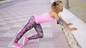 Slender fit toned young woman exercising stock video footage