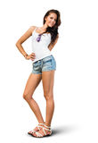 Slender fit young brunette Royalty Free Stock Images