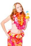 Slender girl in bikini in Hawaii lei on white Royalty Free Stock Image