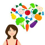Slender girl, fresh fruits and vegetables. The Royalty Free Stock Photos