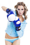 Slender girl fun playing sports boxing Royalty Free Stock Image