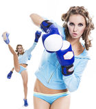 Slender girl fun playing sports boxing Stock Photo