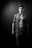 Slender Male Washboard Abs Royalty Free Stock Images