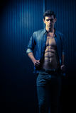 Slender Male Washboard Abs Stock Image