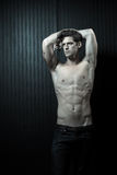 Slender Male Washboard Abs Stock Photos