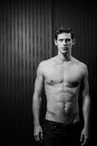 Slender Male Washboard Abs Royalty Free Stock Photos
