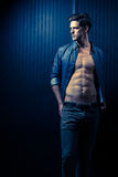 Slender Male Washboard Abs Royalty Free Stock Image