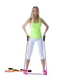 Slender model posing with stretching simulator Stock Images