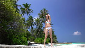 Slender red-haired woman walks along a tropical beach. stock footage