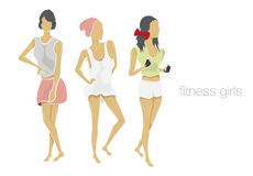 Slender shape fitness girls Royalty Free Stock Photos