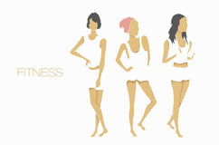 Slender shape fitness girls Stock Photo