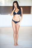 Slender shapely young woman standing in lingerie Royalty Free Stock Photo