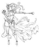 Slender sorceress with a staff. Lineart stock illustration