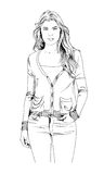 Slender sporty girl drawn in ink by hand Royalty Free Stock Photography